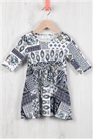 S10-4-3-RFKD1003QS-RPR036-BL - TODDLER GIRLS ABSTRACT PRINT RIBBON DETAIL DRESS- BLUE COMBO 2-2-2-2