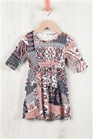 S10-4-3-RFKD1003QS-RPR036-IV - TODDLER GIRLS ABSTRACT PRINT RIBBON DETAIL DRESS- IVORY COMBO 2-2-2-2