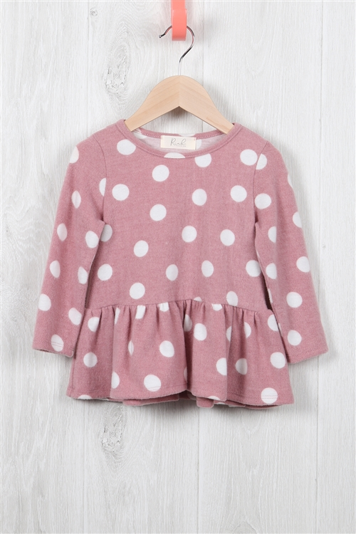 S10-20-2-RFKT2003LS-RPD024-MV - TODDLER GIRLS LONG SLEEVED POLKA DOT RUFFLE TOPS- MAUVE 2-2-2-2