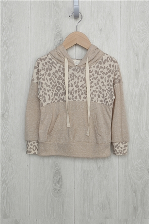S15-12-4-RFKT2013-RAP099C-TP - TODDLER GIRLS ANIMAL PRINT CONTRAST HOODIE WITH SELF TIE- TAUPE/OATMEAL-SIENNA 2-2-2-2