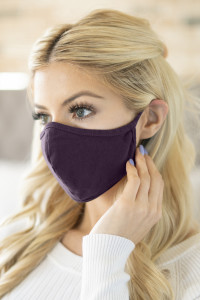 S5-7-1-RFM6001-CT-EPLNT EGGPLANT PLAIN REUSABLE FACE MASK FOR ADULTS/12PCS