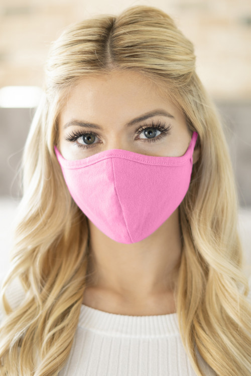 S5-7-2-ARFM6001-CT-HPK HOT PINK PLAIN REUSABLE FACE MASK FOR ADULTS/12PCS