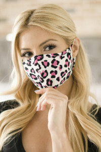 S3-5-1-ARFM6001-RAP021-LEO-FU FUCHSIA LEOPARD PRINTED REUSABLE FACE MASK FOR ADULT/12PCS
