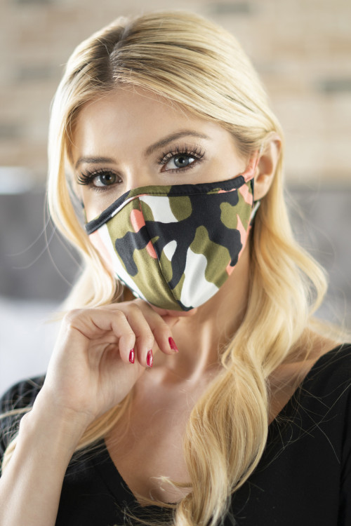 A1-2-2-ARFM6001-RCM010-COOL CORAL OLIVE CAMOUFLAGE REUSABLE FACE MASKS FOR ADULTS/12PCS