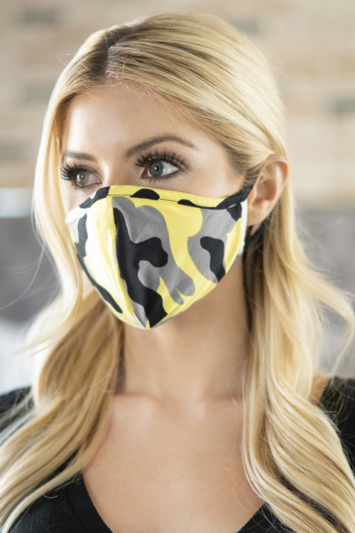 A1-2-1-ARFM6001-RCM010-YW YELLOW CAMOUFLAGE REUSABLE FACE MASKS FOR ADULTS/12PCS