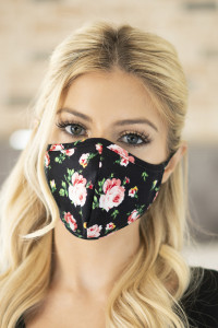 S8-4-1-RFM6001-RFL035-BK BLACK FLORAL REUSABLE FACE MASK FOR ADULTS/12PCS