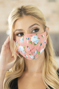 S8-4-3-RFM6001-RFL035-PCH PEACH FLORAL REUSABLE FACE MASK FOR ADULTS/12PCS