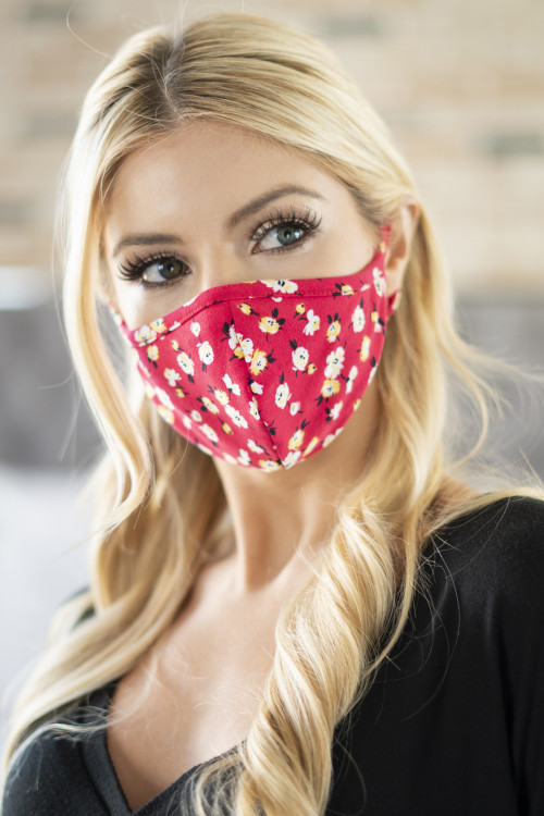 A1-3-2-RFM6001-RFL048-RD RED FLORAL REUSABLE FACE MASKS FOR ADULTS/12PCS