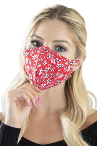 S6-4-3-ARFM6001-RFL082-RED FLORAL REUSABLE FACE MASK FOR ADULTS/12PCS