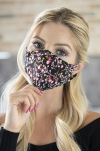 S8-6-1-RFM6001-RFL083-BLACK FLORAL REUSABLE FACE MASK FOR ADULTS/12PCS