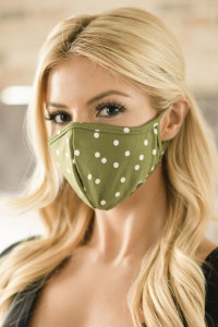 SA3-3-2-ARFM6001-RPD002-OL OLIVE POLKA DOTS PRINTED REUSABLE FACE MASK FOR ADULT/12PCS