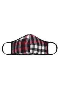 S8-5-1-RFM6001-RPR047-BURGUNDY - PLAID PRINTED REUSABLE FACE MASKS FOR ADULTS/12PCS