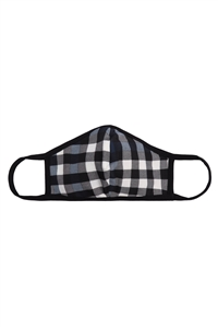 S8-5-1-RFM6001-RPR047-NAVY - PLAID PRINTED REUSABLE FACE MASKS FOR ADULTS/12PCS