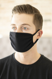 S3-6-2-ARFM6002-CT-BK BLACK PLAIN REUSABLE FACE MASK FOR ADULTS/12PCS