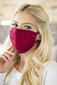 S4-7-2-RFM6002-CT-BU BURGUNDY PLAIN REUSABLE FACE MASK FOR ADULTS/12PCS