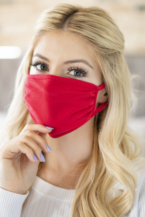 A3-3-1-RFM6002-CT-RD RED PLAIN REUSABLE FACE MASK FOR ADULTS/12PCS