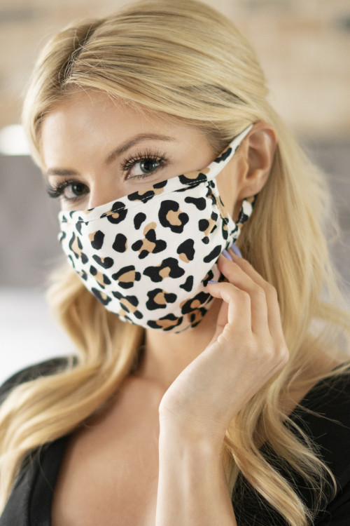 A3-3-1-ARFM6002-RAP021-LEO-IVKH IVORY KHAKI LEOPARD REUSABLE FACE MASK FOR ADULTS/12PCS