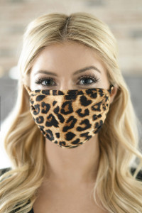 S6-8-2-ARFM6002-RAP042 BLACK BROWN LEOPARD PRINTED REUSABLE FACE MASK FOR ADULTS/12PCS