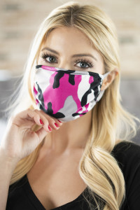 S5-7-2-ARFM6002-RCM010-FU FUCHSIA CAMOUFLAGE REUSABLE FACE MASKS FOR ADULTS/12PCS