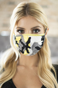 S8-5-2-ARFM6002-RCM010-YW YELLOW CAMOUFLAGE REUSABLE FACE MASKS FOR ADULTS/12PCS