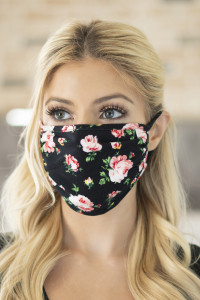 SA4-1-1-ARFM6002-RFL035-BLK-RD-GEN BLACK RED GREEN FLORAL REUSABLE FACE MASK FOR ADULTS/12PCS