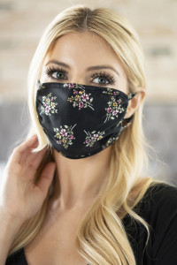 S5-7-3-RFM6002-RFL052-BLACK - FLORAL REUSABLE FACE MASKS FOR ADULTS/12PCS