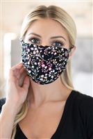 S4-8-2-RFM6002-RFL083-BK- FLORAL REUSABLE FACE MASKS FOR ADULTS-BLACK/12PCS