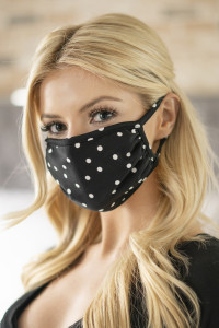 S4-7-1-ARFM6002-RPD002-BLACK POLKA DOTS PRINTED REUSABLE FACE MASK FOR ADULTS/12PCS