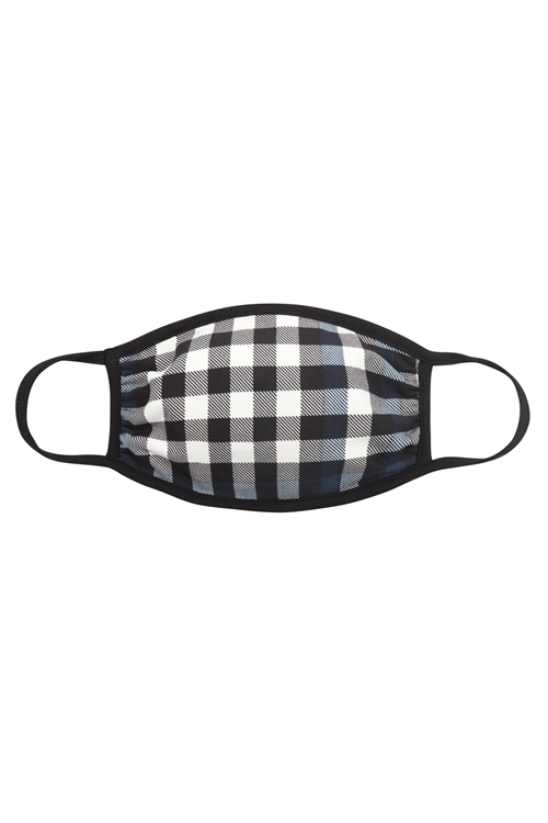 RFM6002-RPR047-NV-PLAID FACE MASK-NAVY/12PCS