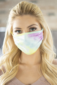 S8-4-3-ARFM6002-RTD001-MAYL MAGENTA YELLOW TIE DYE COLORED REUSABLE FACE MASK FOR ADULTS/12PCS