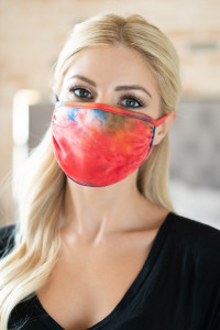 S8-5-3-ARFM6002-RTD023-RYLRDOR ROYAL RED ORANGE TIE DYE REUSABLE FACE MASK FOR ADULTS/12PCS