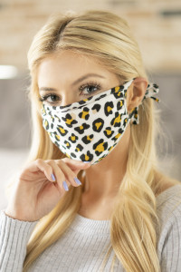 S3-4-1-ARFM6003-RAP022-IVYW IVORY YELLOW LEOPARD SKIN PRINTED REUSABLE FACE MASK ADJUSTABLE/12PCS