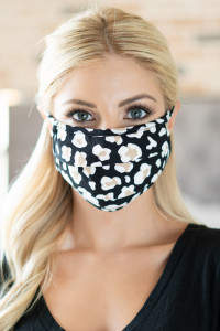 S7-8-1-ARFM6006-RAP021-BK BLACK ANIMAL SKIN PRINT REUSABLE PLEATED FACE MASK FOR ADULTS/12PCS