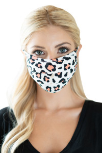 S7-8-1-ARFM6006-RAP021-CO CORAL ANIMAL SKIN PRINT REUSABLE PLEATED FACE MASK FOR ADULTS/12PCS