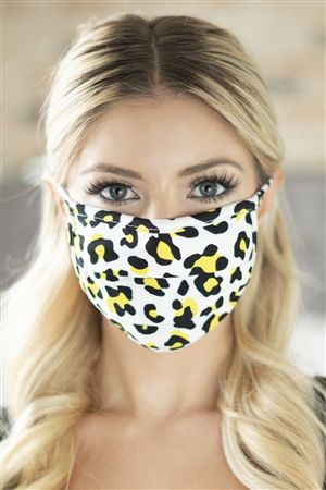 S5-8-1-RFM6006-RAP021-YW - LEOPARD SKIN PRINT REUSABLE PLEATED FACE MASKS FOR ADULTS - YELLOW /12PCS