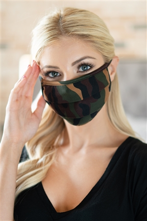 S7-7-1-RFM6006-RCM010-BR - CAMOUFLAGE REUSABLE PLEATED FACE MASK FOR ADULTS /12PCS