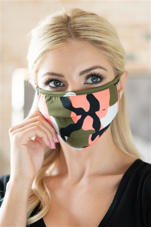 S7-7-1-ARFM6006-RCM010-COOL CORAL OLIVE CAMOUFLAGE REUSABLE PLEATED FACE MASK FOR ADULTS/12PCS