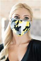 S7-7-3-ARFM6006-RCM010-YW YELLOW CAMOUFLAGE REUSABLE PLEATED FACE MASK FOR ADULTS/12PCS