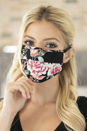 A3-3-2-ARFM6006-RFL001-BK FLORAL REUSABLE PLEATED FACE MASKS FOR ADULTS - BLACK/12PCS