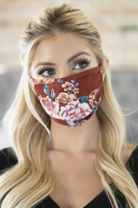 S4-4-3-ARFM6006-RFL001-BRI FLORAL REUSABLE PLEATED FACE MASKS FOR ADULTS - BRICK/12PCS