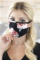 SA4-4-3-RFM6006-RFL025-CHAR- PRINT REUSABLE PLEATED FACE MASKS FOR ADULTS - CHARCOAL/12PCS