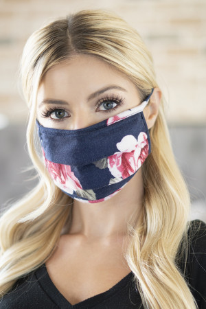 A3-3-2-ARFM6006-RFL025-NV PRINT REUSABLE PLEATED FACE MASKS FOR ADULTS - NAVY/12PCS