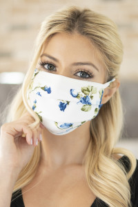 SA4-1-3-ARFM6006-RFL028-DENIM FLORAL PRINT REUSABLE PLEATED FACE MASK FOR ADULTS/12PCS