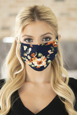 SA4-1-3-ARFM6006-RFL028-NAVY FLORAL PRINT REUSABLE PLEATED FACE MASK FOR ADULTS/12PCS