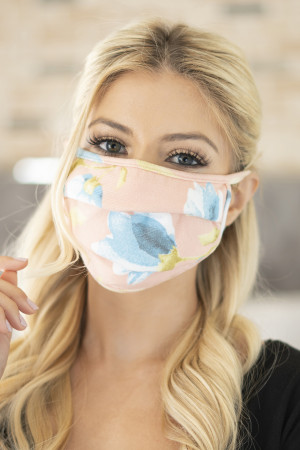 S4-4-3-ARFM6006-RFL029-PEACH-BLUE FLORAL PRINT REUSABLE PLEATED FACE MASK FOR ADULTS/12PCS