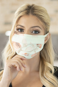 S4-4-3-ARFM6006-RFL029-SAGE-ORANGE FLORAL PRINT REUSABLE PLEATED FACE MASK FOR ADULTS/12PCS