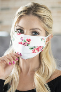 A2-1-1-ARFM6006-RFL043-IV IVORY PRINT REUSABLE PLEATED FACE MASKS FOR ADULTS/12PCS