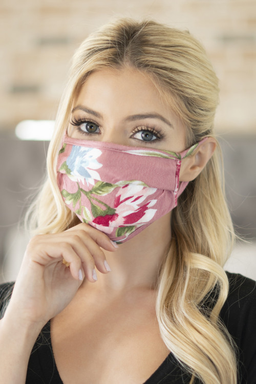 A2-1-1-ARFM6006-RFL043-MAU MAUVE PRINT REUSABLE PLEATED FACE MASKS FOR ADULTS/12PCS