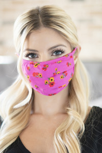 A3-3-3-ARFM6006-RFL075-PINK FLORAL REUSABLE PLEATED FACE MASK FOR ADULTS/12PCS