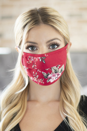 A3-3-2-ARFM6006-RFL080-RD FLORAL REUSABLE PLEATED FACE MASKS FOR ADULTS - RED/12PCS